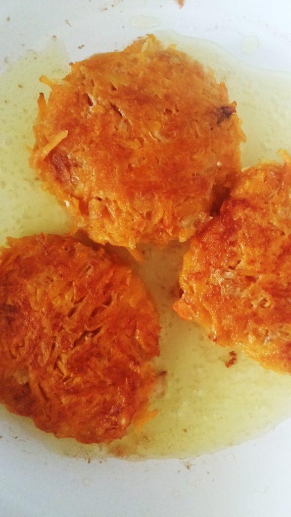 Frying butternut latkes over medium heat www.andthentherewasfood.co.za