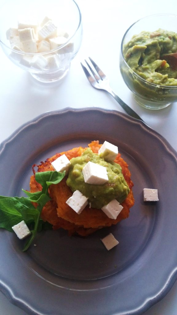 Delicious Butternut Latkes served with feta cheese, guacamole and fresh rocket|www.andthentherewasfood.co.za