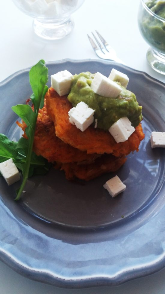 Meatless Monday is butternut latkes with creamy guacamole, feta cheese and fresh rocket|www.andthentherewasfood.co.za