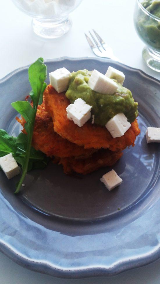 Meatless Monday is butternut latkes with creamy guacamole, feta cheese and fresh rocket|www.andthentherewasfood.co.za