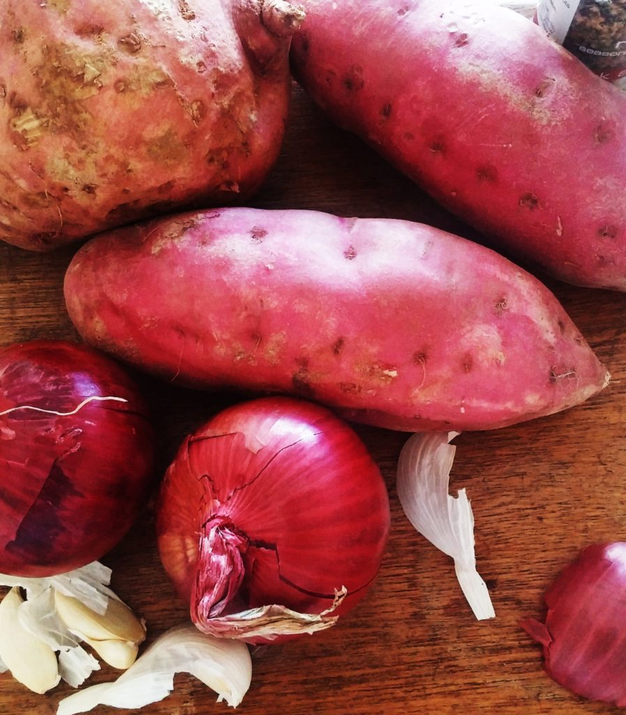 I love roasting the sweet potatoes and the purple onion to add to the richness of this soup|www.andthentherewasfood.co.za